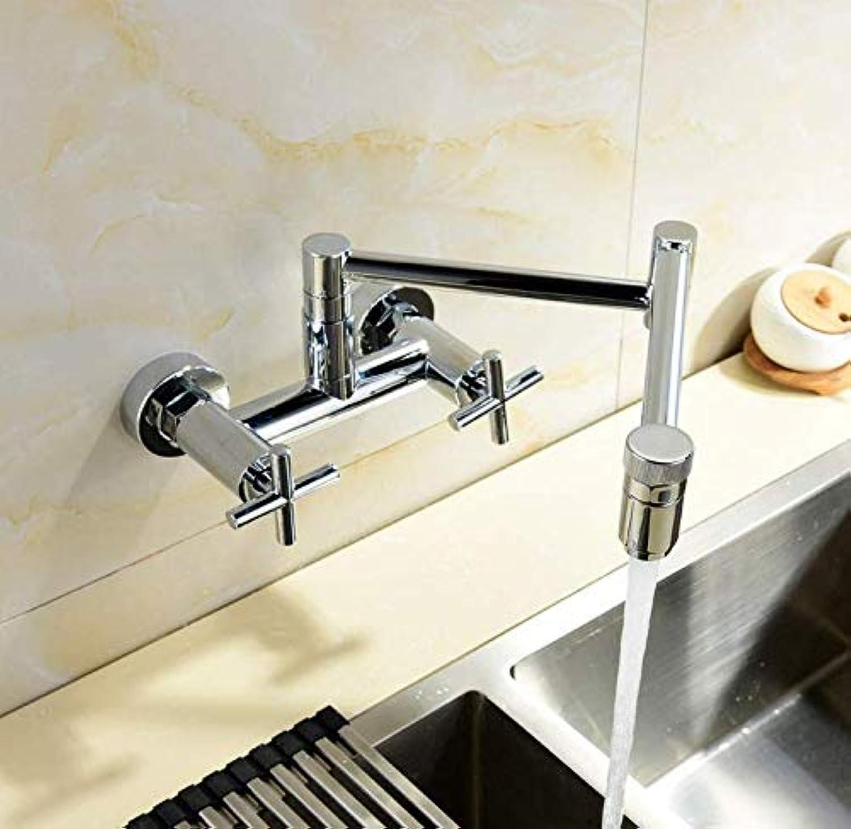 Wasserhahn Wasserhahn Wasserhahn Kupfer Verchromt Wandmontierte Küchenarmatur Universal Rotierenden Warmes Und Kaltes Wasser Becken Wasserhahn Faltender Doppelschalter