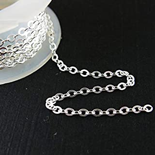 Sterling Silver Chain - 2.3mm Strong Flat Cable Link (Sold per 3 feet)