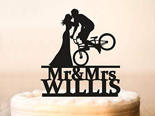 Decoración para tarta de boda, diseño de siluetas de novia y novio en bicicleta, decoración para tarta de silueta de bicicleta (0236)