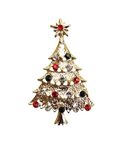 Goldene Kristall-Brosche Weihnachtsbaum – Weihnachtspullover – Geschenk für Weihnachten