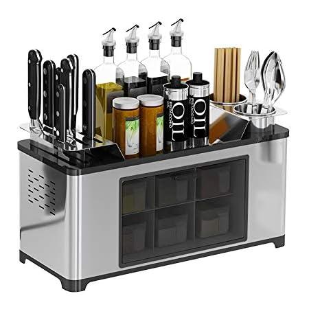 Étagère à épices en acier inoxydable pour comptoir à épices - Boîte de rangement pour bouteilles, bocaux, condiments, couteaux, baguettes, rangement pour ustensiles de cuisine