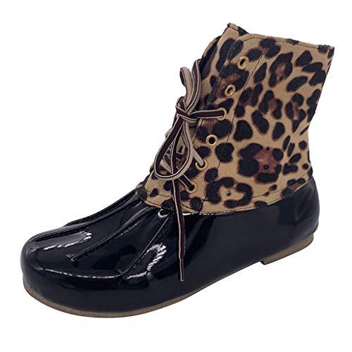 ABsoar Mittellange Stiefel Damen British Stil Stiefeletten Retro Leopard Regen Schuhe Elegant Patchwork Boots Party Western Harness Leder Stiefel