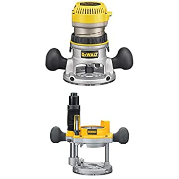 DEWALT DW618K 2-1/4 HP Electronic Variable Speed Fixed Base Router with So Start Kit with DW6182 Plunge Base