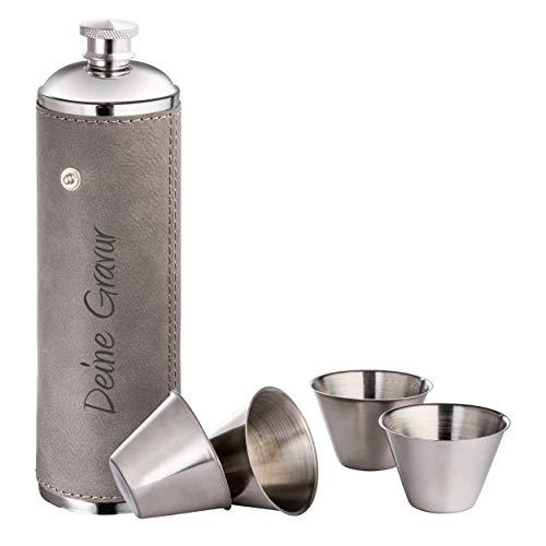 Schmalz® Flachmann-Set Lissabon 5-teilig - aus Edelstahl - mit PU-Überzug - inkl. Wunschgravur - Schnapsbecher - Smarte Becherhalterung - mit Gravur (mit Gravur)