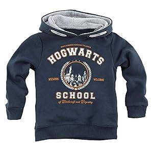HARRY POTTER Hogwarts School Unisex Sudadera con Capucha Azul Marino, Rippbündchen Regular 36
