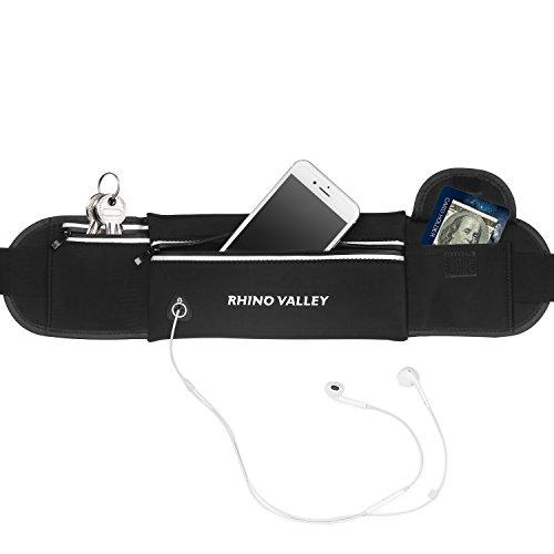 Rhino Valley Marsupio Sportivo Cintura da Corsa con 3 Tasche per Corso, Allenamenti, Ciclismo, Jogging, Travel, per iPhone 11/11 PRO Max/XS Max/XR, Galaxy Note 10 Plus, Pixel 4 XL - Nero