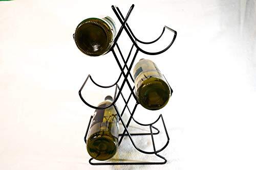Botellero de vino (21 x 14 x 38 cm) – Contiene 6 botellas de vino de tamaño estándar – Porta vino de acero inoxidable superbrillante – Botellero de apoyo – Botellero ahorro de espacio para vino