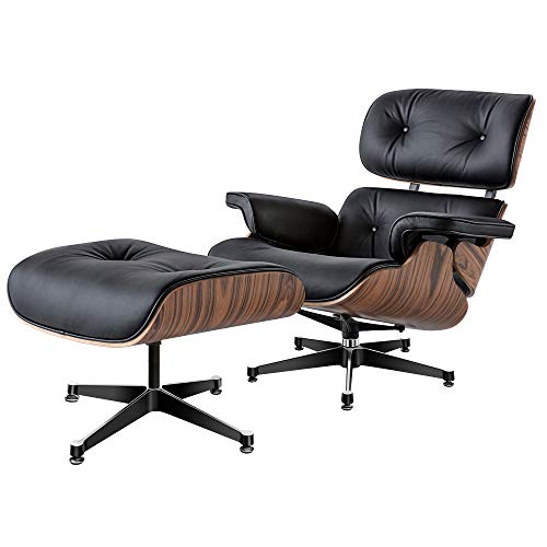 Lounge Sessel mit Ottomane, Mitte des Jahrhunderts Sessel Liegesessel mit echtem Leder Modern Chaise für Schlafzimmer Wohnzimmer Lounge Büro (palisander + schwarz)
