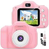 YunLone ToyZoom Macchina Fotografica per Bambini 12MP Selfie Fotocamera Digitale per Bambini FHD 1080P Videocamera Regali 3-8 Anni, 8X Zoom/Scheda 32 GB/Custodia Inclusa