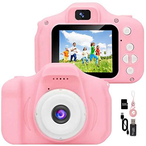YunLone ToyZoom Fotocamera Bambini1080P Macchina Fotografica per Bambini Digitale Portatile Mini DV Videocamera per Bambine 2 Pollici IPS, Scheda 32 GB,Custodia Inclusa - Rosa