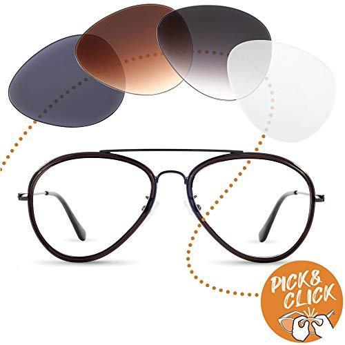 Sym Pilot Brille mit Sehstärke von -4,00 bis +4,00 mit auswechselbaren Gläsern in 6 Farben für Kurzsichtigkeit und Weitsichtigkeit - Damen & Herren (Unisex) - Club Kollektion Modell Kater bronze grau