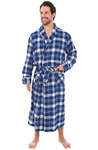 Alexander Del Rossa Men's Lightweight Flannel Robe, Soft Cotton Kimono, XL Wide Blue White Plaid (A0707Q40XL)