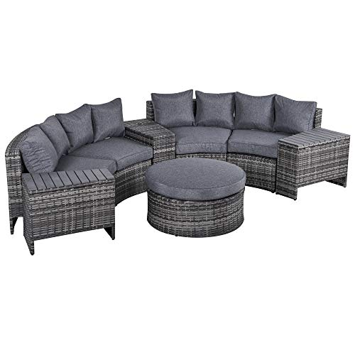 Outsunny 8 Pieces Outdoor PE Rattan Wicker Patio Sofa Set Half Round Conversation Sofa Furniture w/ 1 Umbrella Hole Side Table and 2 Storage Functional Side Tables Grey