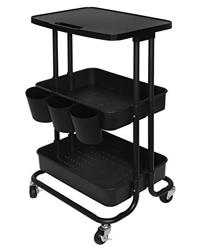 3 Tier Rolling Cart Tabletop Storage Cart with Hanging Cups Utility Organizer Cart for Kitchen,Living room,Bedroom,Black