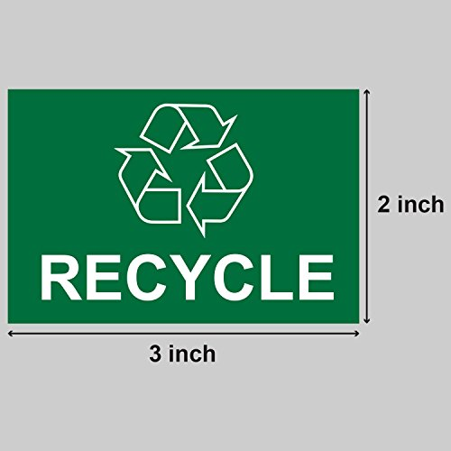"""Recycle Logo Recycling with Arrows Symbol Labels Self Adhesive Stickers (Green White / 3"""" x 2"""") - 300 labels per package Photo #2"""
