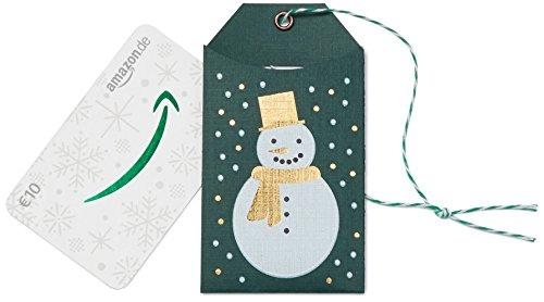 Amazon.de Geschenkkarte in Geschenkanhänger - 10 EUR (Weihnachtlicher Schneemann)