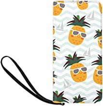 InterestPrint Cute Adorable Pineapple and Boat in Blue Stripes Ocean Waves Women's Clutch Purse Card Holder Organizer Ladies Purse