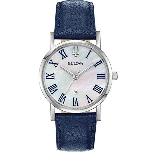 Bulova Damen Analog Quarz Uhr mit Leder Armband 96M146