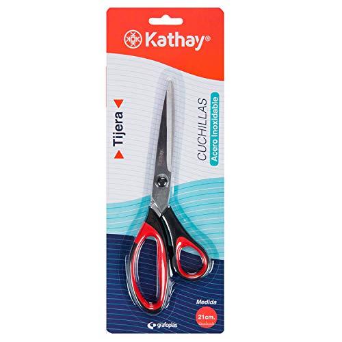 Kathay 86232151. Tijera de Acero Inoxidable, 21cm, Color Negro y Rojo