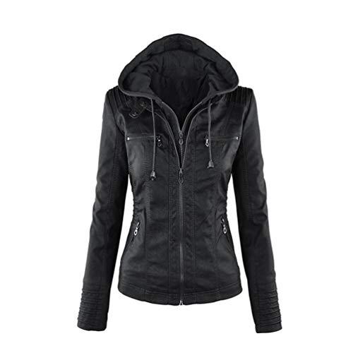 Tookang Damen Vintage Mode Jacke Übergangsjacke Biker Lederjacke mit Kapuze Bomberjacke aus Leder Lässig Einbau Stil