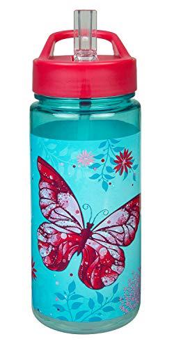 Scooli BUTE9913 Aero Trinkflasche aus Kunststoff mit integriertem Strohhalm und Trinkstutzen, Butterfly, BPA und Phthalat frei, ca. 500 ml