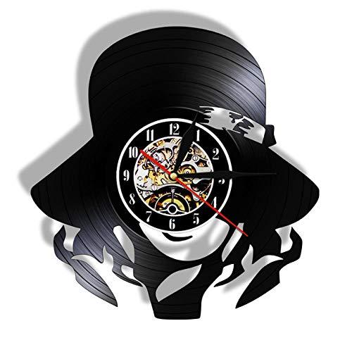 CNLSZM Reloj De Pared De Vinilo Disco De Pared De Vinilo para Bella Mujer con Sombrero Decoración Moderna Y Vintage-sin luz led