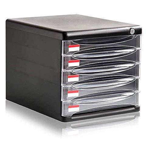 WMMCM Locking Drawer Cabinet Bureau Organizer Home Office Desktop File Storage Box w 5Lock Laden Geweldig voor het indienen en organiseren van papieren documenten Gereedschap Kids Craft Supplies Safe Deposit Box
