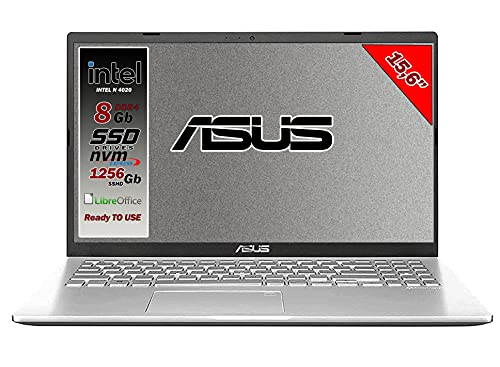 Asus Vivobook notebook, SSHD da 1256Gb, Cpu Intel N4020 fino a 2.8 Ghz, 8Gb ddr4, Display da 15,6 hd, wi-fi, 3 Usb, Bt, Win 10 pro, Pronto All'uso Gar. Italia