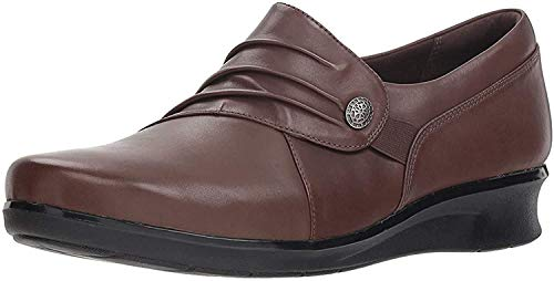 Clarks Women's Hope Roxanne Loafer, Brown Leather, 8.5 W US