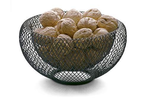 Philippi Corbeille à pain décorative en acier inoxydable Noir 22 x 22 cm