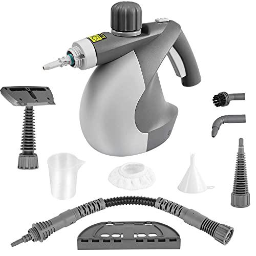 MVPower Pulitore a Vapore Portatile, Pulitori a Vapore Multiuso 350ml, 9 Accessori, uso per Cucina, Bagno, Pavimento, Finestre