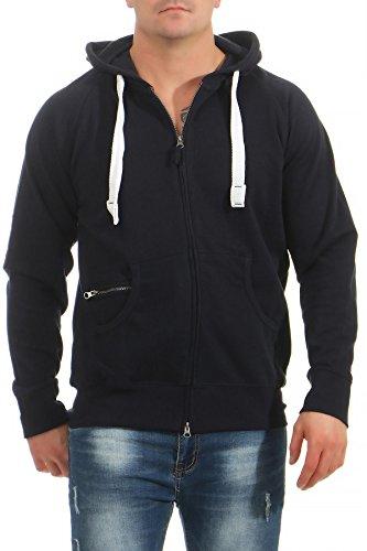 Mivaro Herren leichte Sweatshirtjacke Zip Hoodie Kapuzenjacke bis 3XL, Größe:3XL, Farbe:Dunkelblau