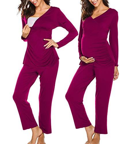 Ekouaer Maternity Nursing Pajamas Long Sleeve Pj Set for Breastfeeding Soft Nursing Loungewear for Women