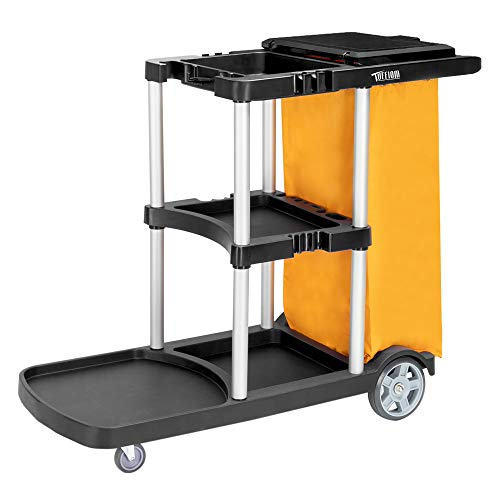 TUFFIOM Commercial Traditional Cleaning Janitorial 3-Shelf Cart, 500 Lbs Capacity Housekeeping Cart, 42.5' L x 18.7' W x 37.6' H , Wheeled with 22 Gallon Zippered Yellow Vinyl Bag and Cover, Black