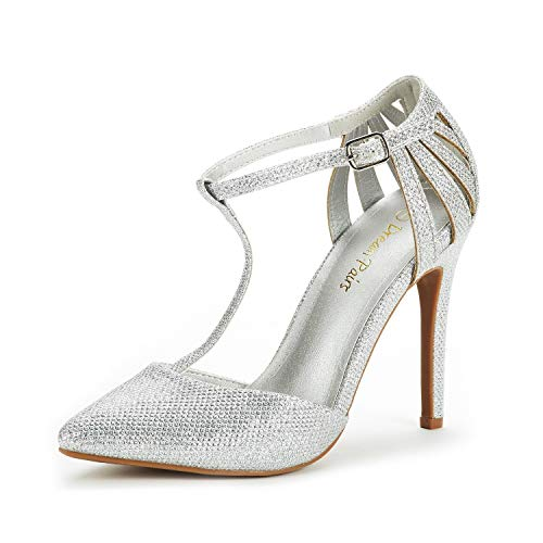 DREAM PAIRS Women's Oppointed-Mary Silver Glitter Fashion Dress High Heel Pointed Toe Wedding Pumps Shoes Size 9 M US