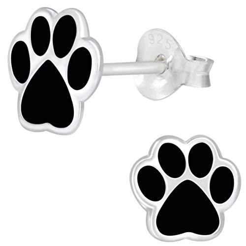 JAYARE Pfoten Ohrringe Mädchen 925 Sterling Silber schwarz Hunde Ohrstecker Hundepfote Kinderohrringe Katze Kinder Mädchenohrstecker