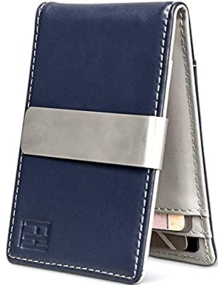 F&H Minimalist Slim Leather Wallet Money Clip Holds 8 Cards (Smooth Navy/Stone)