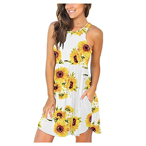 Women's Summer Sleeveless Casual Dresses Swing Cover Up Elastic Loose Comfy Swing Sundress with Pockets