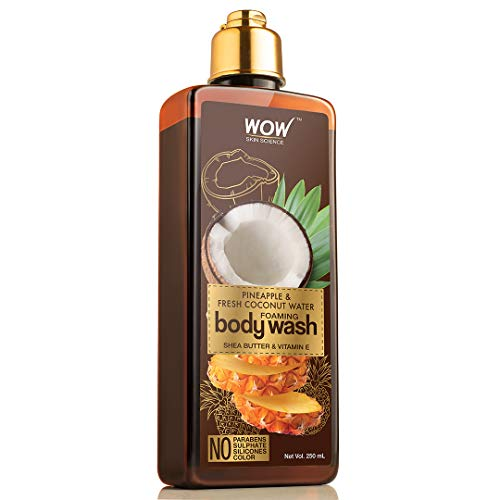 WOW Skin Science Pineapple & Fresh Coconut Water Foaming Body Wash - No Parabens, Sulphate, Silicones & Color, 250 ml