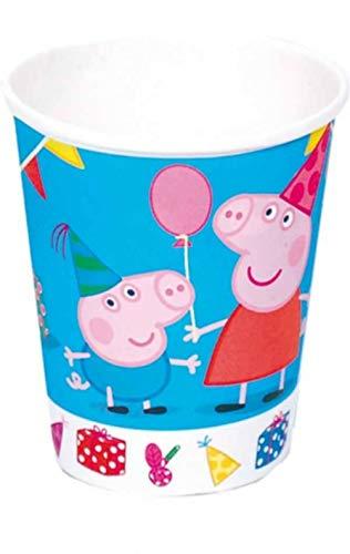 """Lote de 24 Vasos de Cartón Infantiles Decorativos""""Peppa Pig"""". Vajillas y Cuberterías Desechables. Juguetes y Regalos Baratos para Fiestas de Cumpleaños, Bodas, Bautizos, Comuniones y Eventos."""