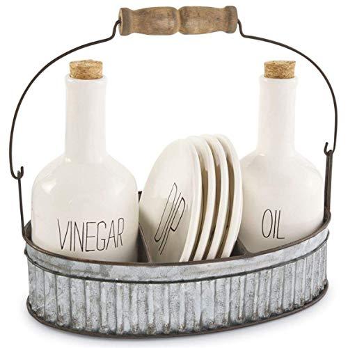 Mud Pie Ceramic Oil & Vinegar Appetizer Set in Tin Caddy