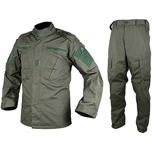 2020 Tactical Airsoft Military Army Uniform Combat Shirt & Hose Set Outdoor Paintball Training Jagd Kleidung Gr. Medium, Army Grün