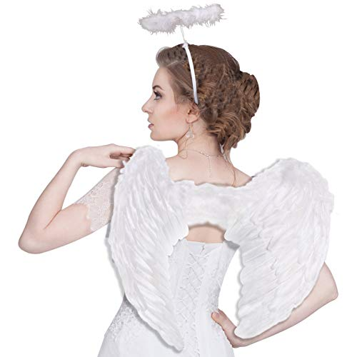 Angel Wings Costume for adult, Halloween Angel Costumes for Adults Women Men, Christmas White Feather Angel Wing for Kids Girls Child Teen Boys Children