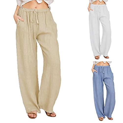 JPVDPA Women's Linen Pants Drawstring Waist Long Wide Leg Pants Casual Loose Solid Pants Cotton Beach Trousers Khaki