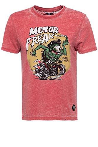 King Kerosin Motor Freak Camiseta, Rojo, L para Hombre