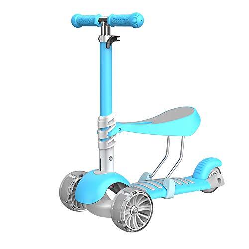 Lihgfw 2 in 1 Sitzen/Station Kinderspielzeugroller, justierbare Höhe, blinkendes Radlicht, breites Brett, Junge/Mädchen (Color : Blau)