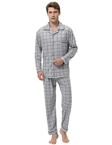 iClosam Pijama Hombre Invierno Largo Set,Pijamas Rayas con Botones Algodón Ropa a Cuadros para Dormir Casa Suave y Cómodo S-XXL