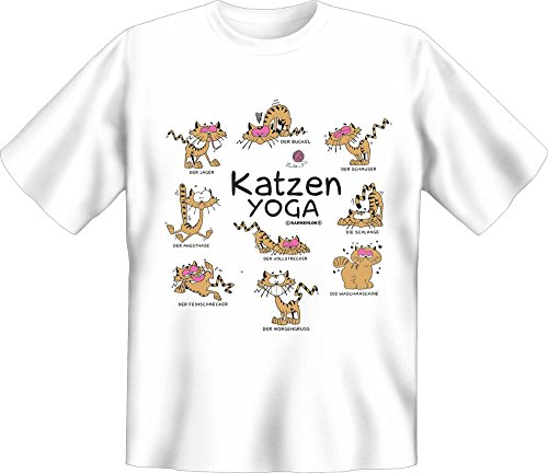 Chat Proverbes – Yoga – Fun T-Shirt – Tailles S, M, L, XL, XXL - Multicolore - XXL