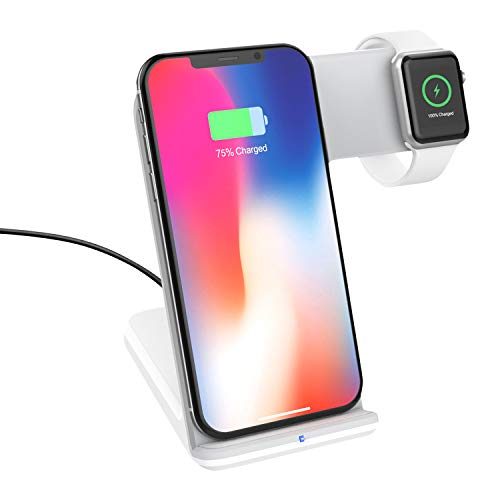 MoKo Fast Qi Wireless Charger Stand (Not Included Adapter), 2 in 1 Fast Charging Dock Fit Watch Series 2/3 (Not Fit Series 4), iPhone 11 Pro Max/11 Pro/11/XS/XR/XS MAX, Galaxy S10/S10+/S10e - White