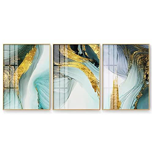 Cuadros de la lona 40x50cm 3 piezas SIN marco Pintura nórdica de la hoja de oro verde Estilo abstracto moderno Arte de la lona Impresión de carteles Imágenes para la sala de estar Decoración del hogar